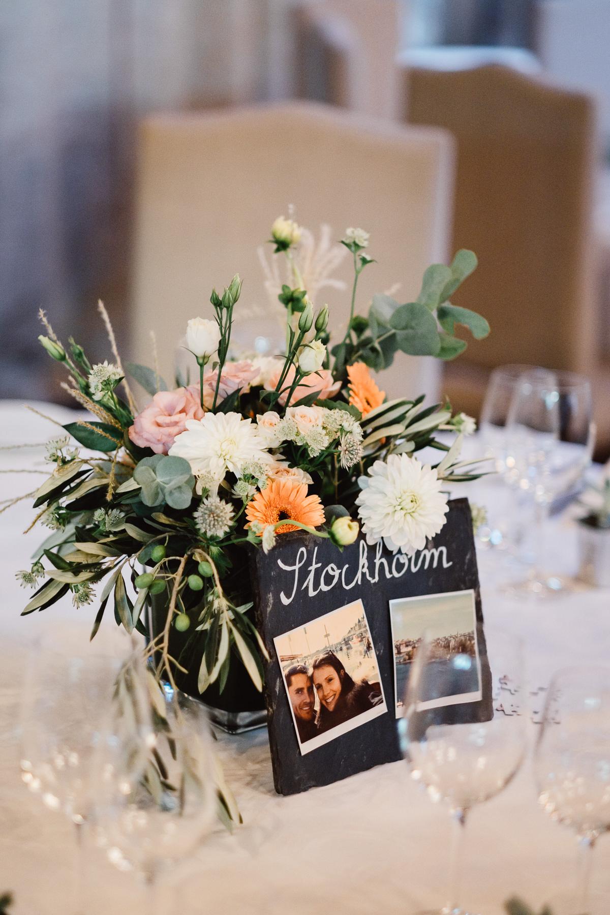 Centre de table mariage, décoration fleuriste Le Jardin en Ville (Aix-les-Bains)